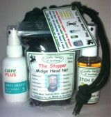 the Full Midge Monty bag -  2 herbal sprays and a net