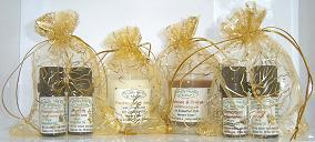 The three wise men Gold organza gift bags,  with Frankincense and Myrrh, Cinnamon and Orange, essential oils and candles.